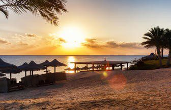 Sharm el Sheikh beach sunset on a scuba diving vacation