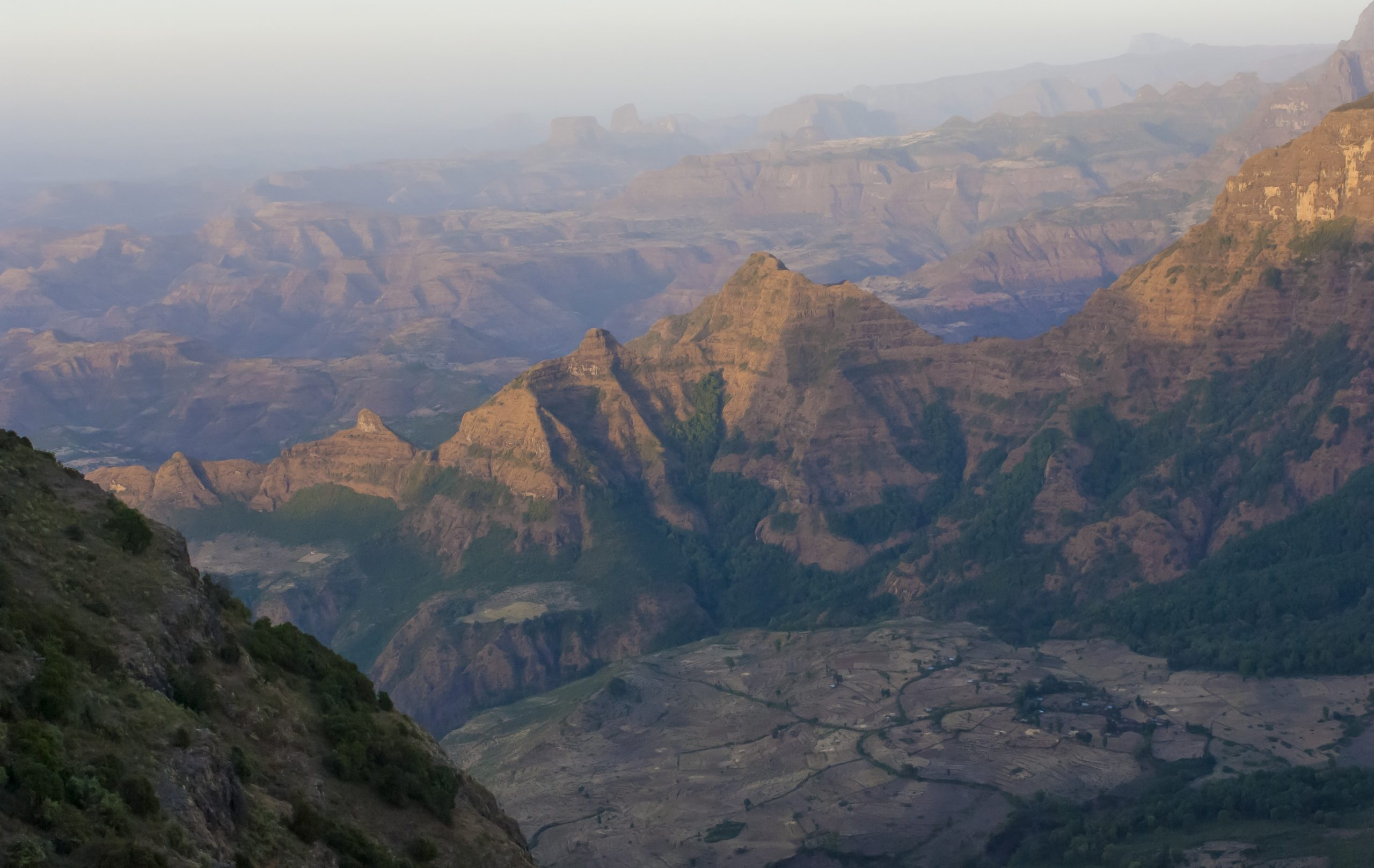 view from high up in the simien mountains on a cloudy day