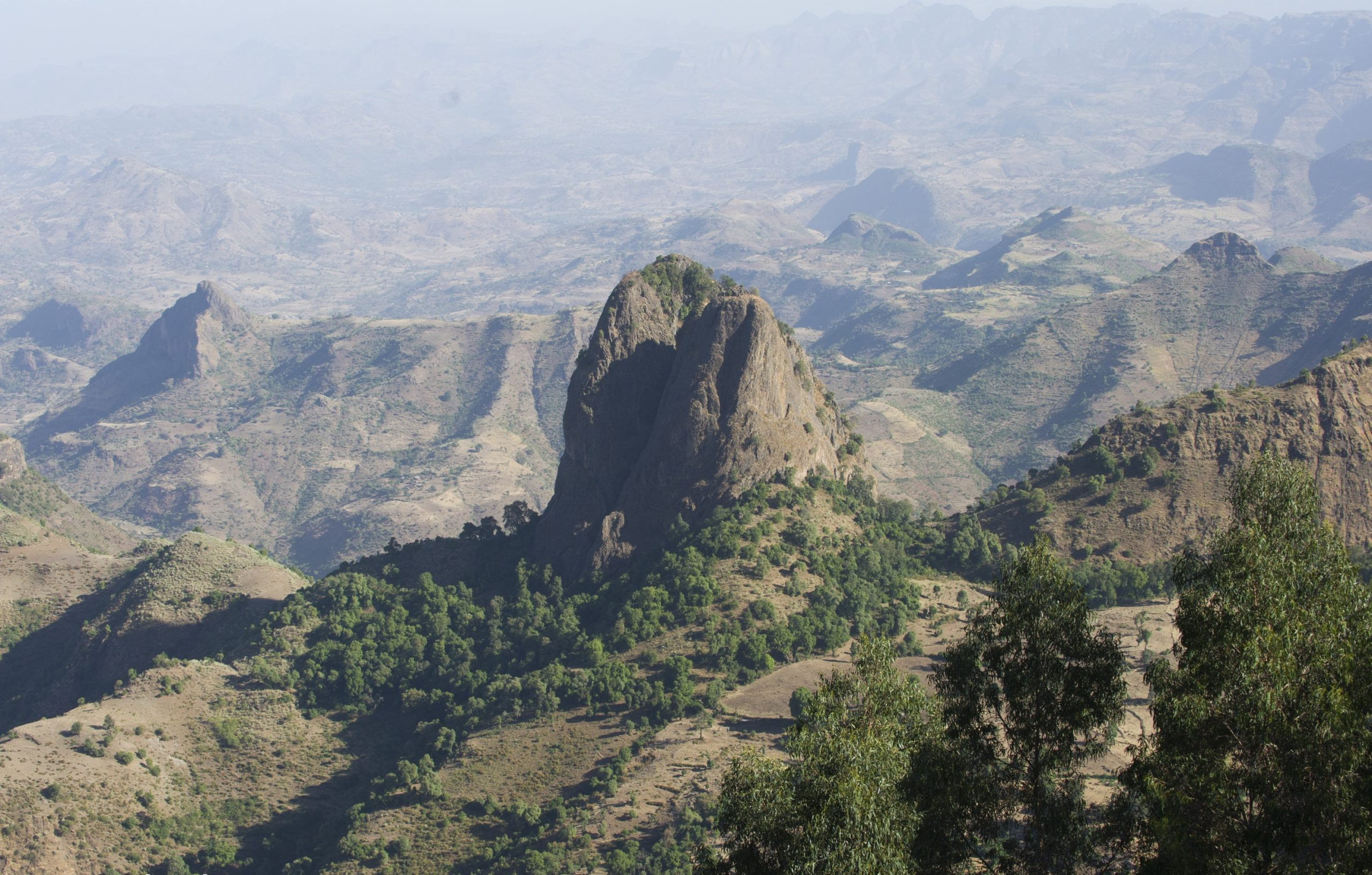imposing rock formation in the simien mountains.