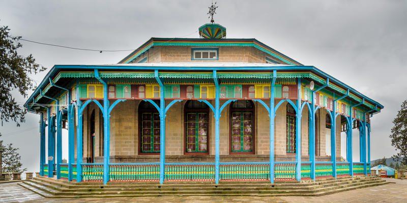 outside view of Entoto Maryam Church in addis ababa, ethiopia