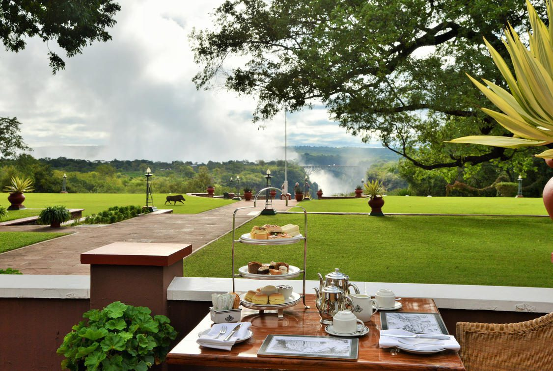 tea table set looking across lawn at vic falls