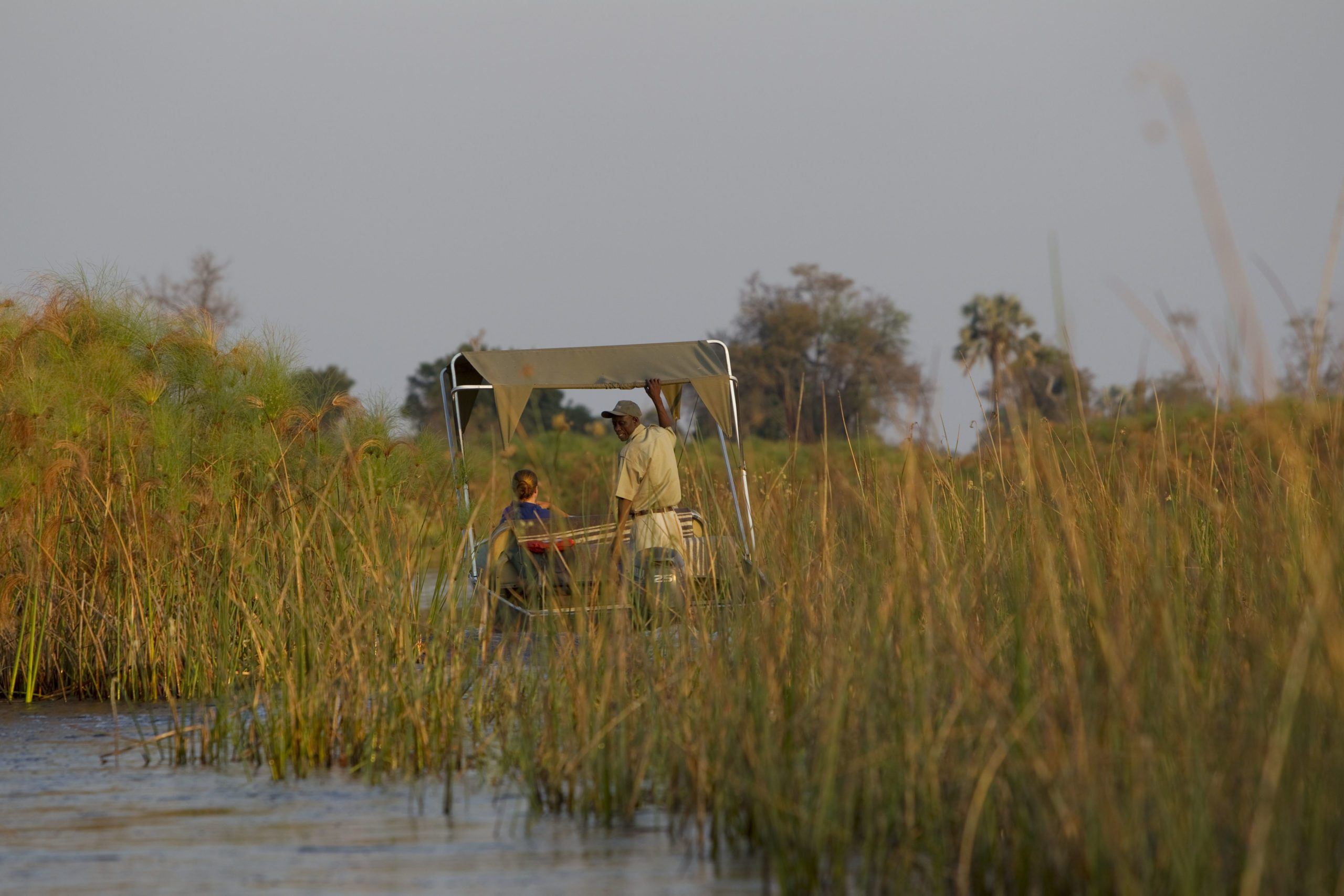 water safari in the okavanga delta seen on our Botswana safari