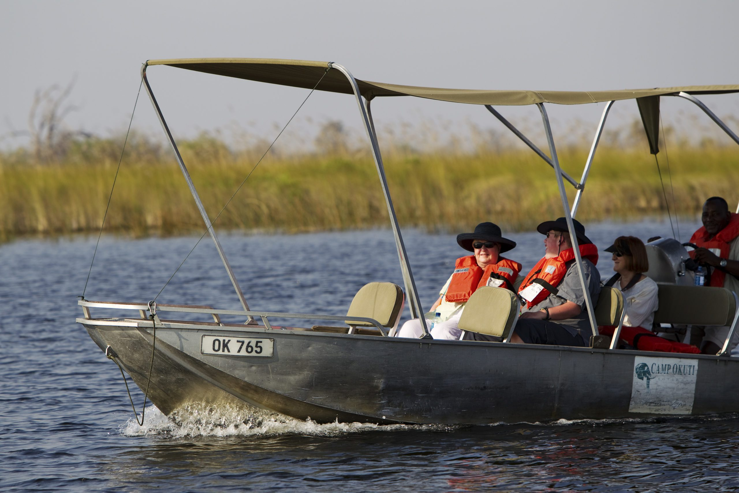 shinde camp water safari motorized boat with two guests