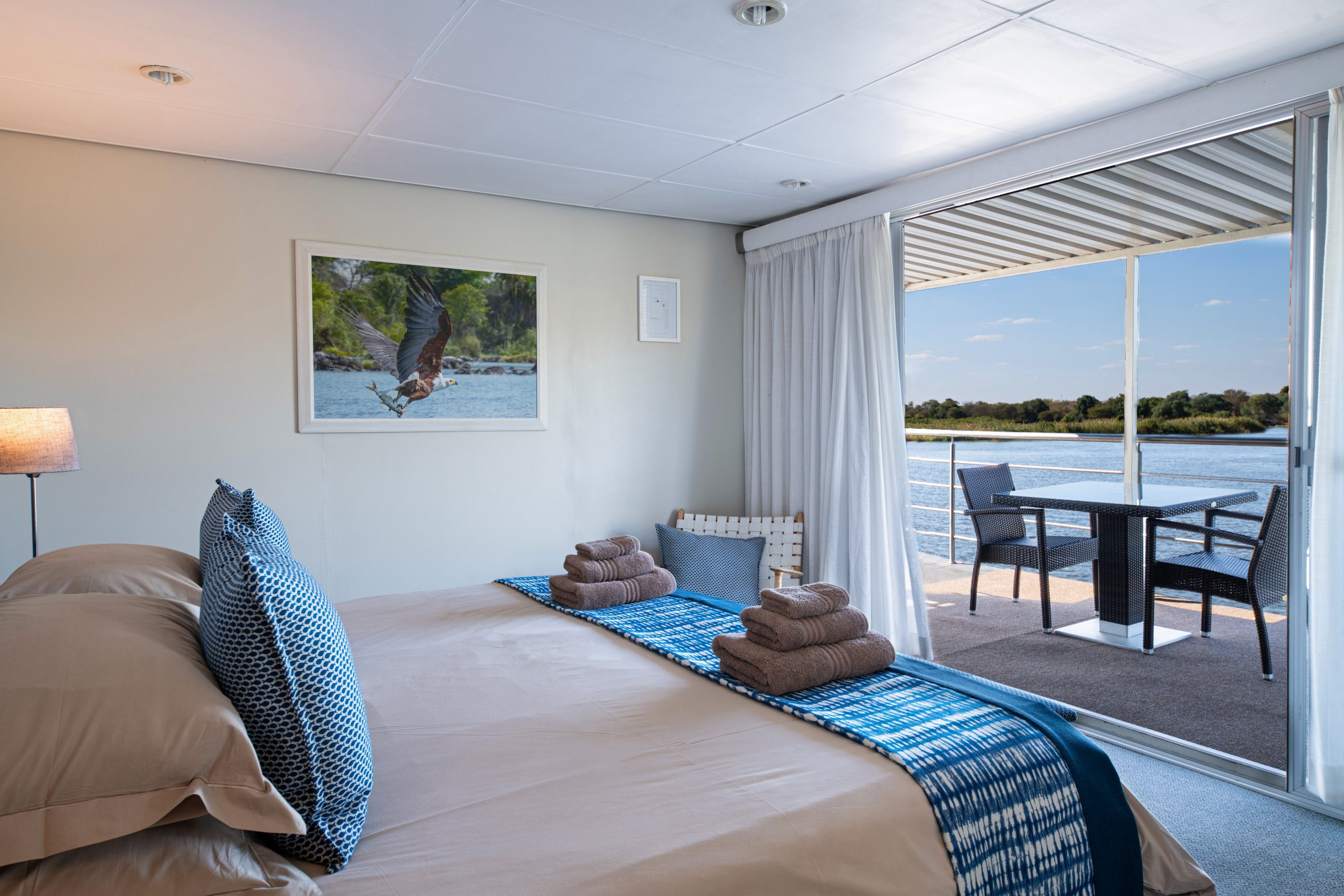 Chobe Princess boat cruise interior view from room with double bed