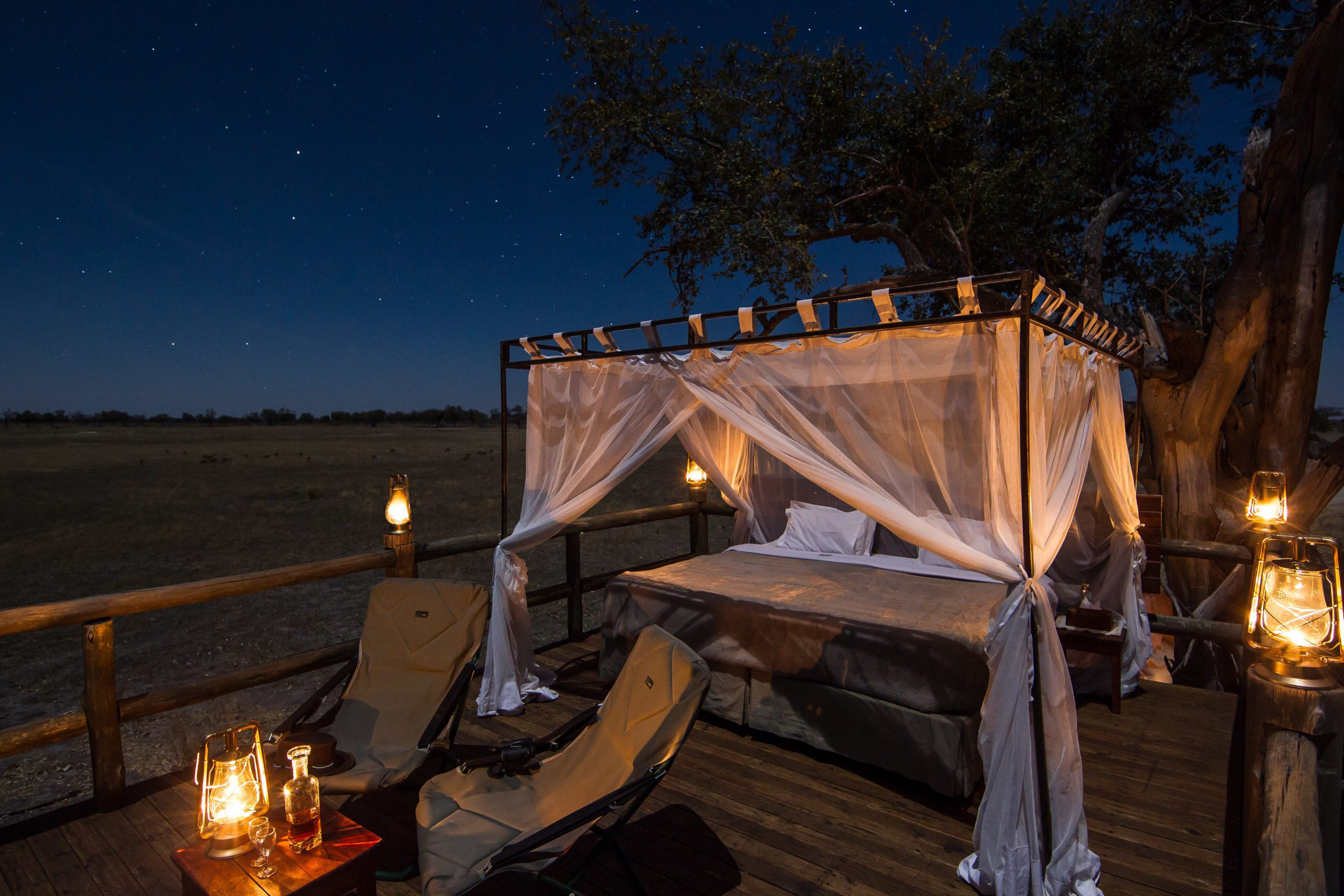 Kanana Camp fly camping on the star deck seen on our Botswana safari