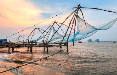 chinese fishing nets at daybreak