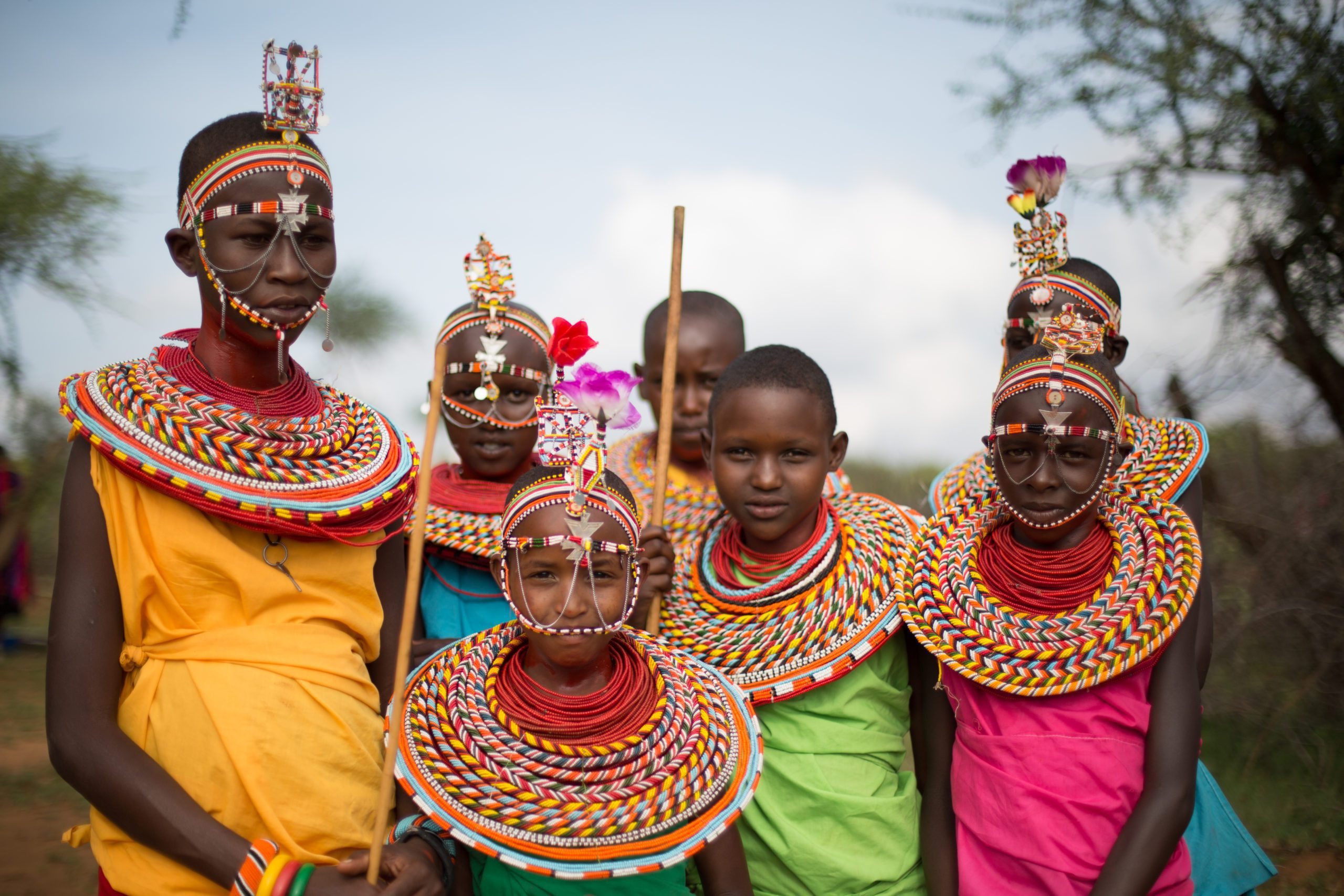 Samburu children in traditional attire