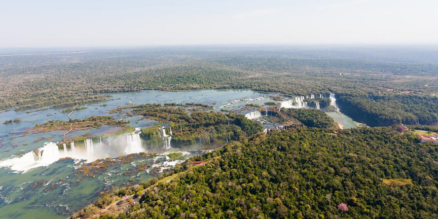 Vast waterfalls from above crossing Argentina and Brazil