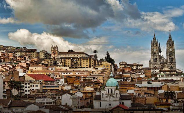 Quito along the hillside on Ecuador holiday