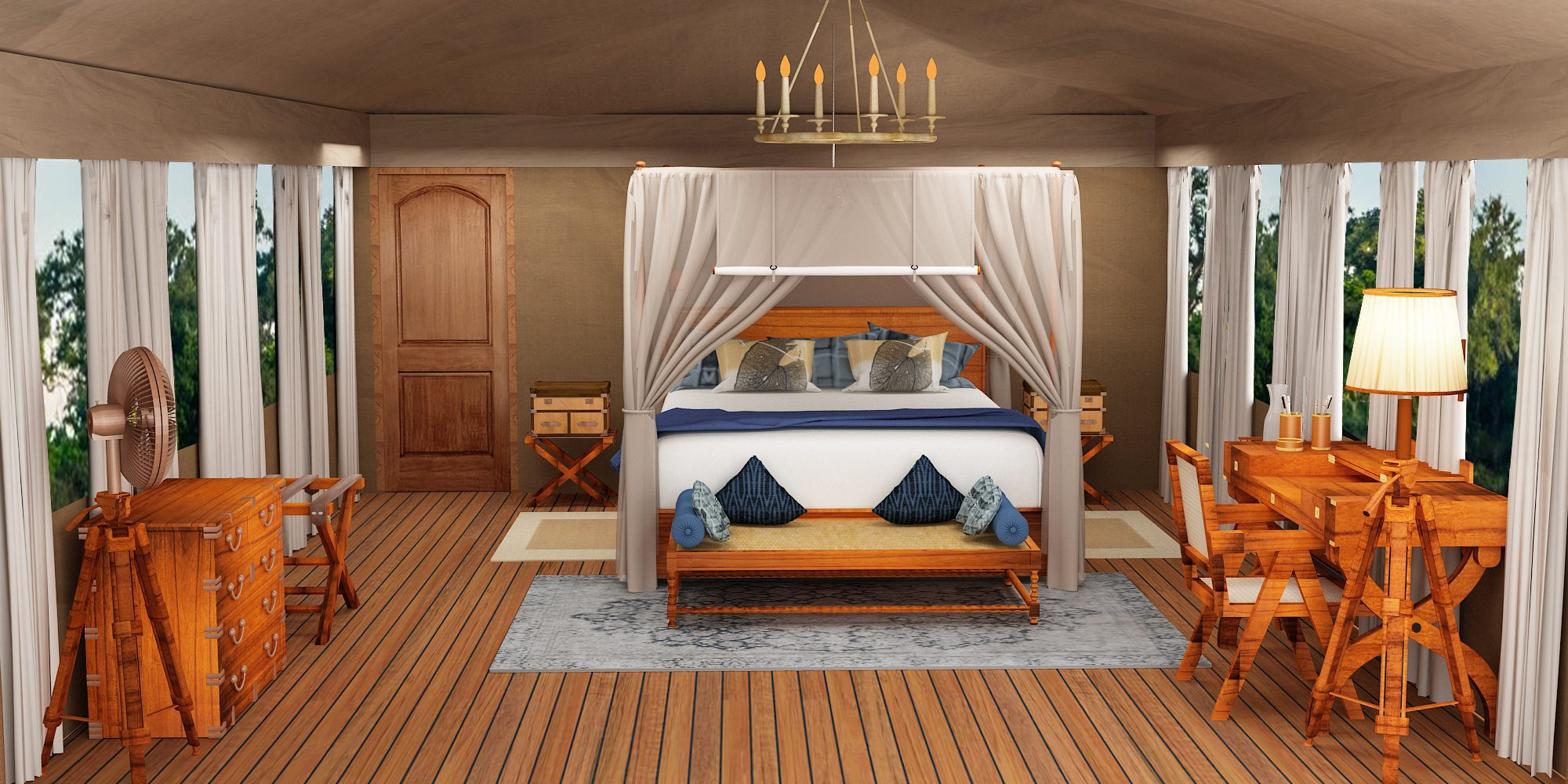 rendering of a bedroom tent at shinde