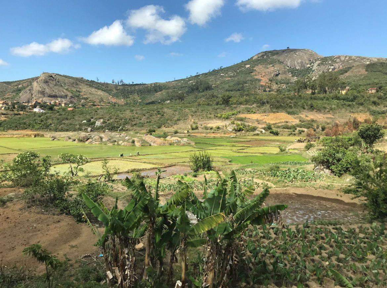 Hills and farmland just outside the city of Antananarivo