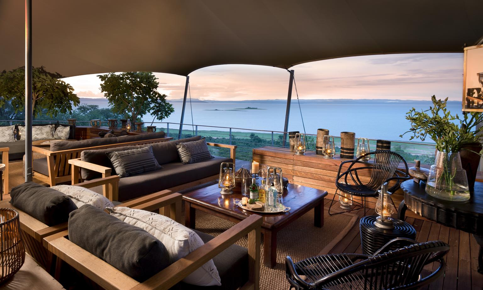Main Area at Bumi Hills with View of Lake Kariba