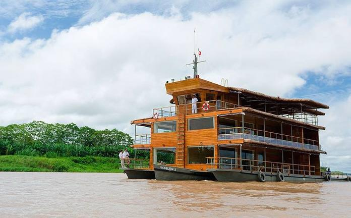 cruise boat on the river in the Peruvian Amazon