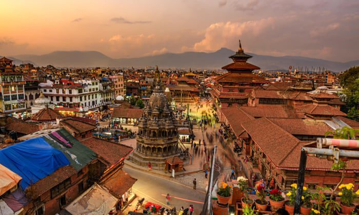 aerial view over historic kathmandu and sunset