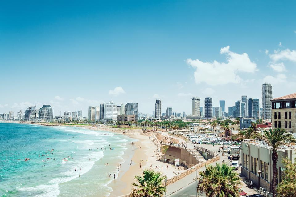modern tel aviv near the ocean seen on Israel holiday