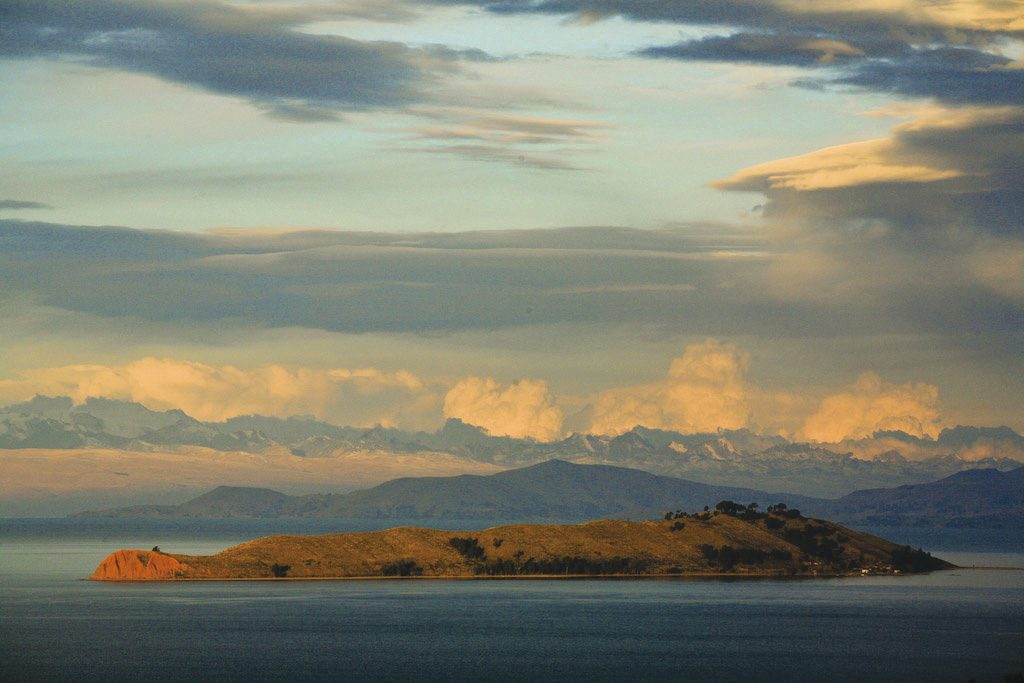 Isla del sol on Titicaca during sunset
