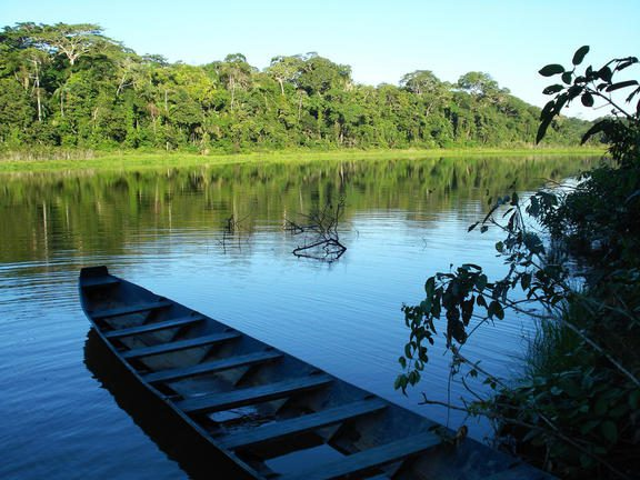boat on the river in Tambopata