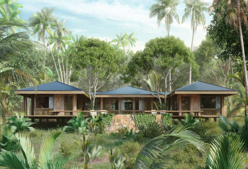 three suites with green roofs set into lush vegetation and palm trees