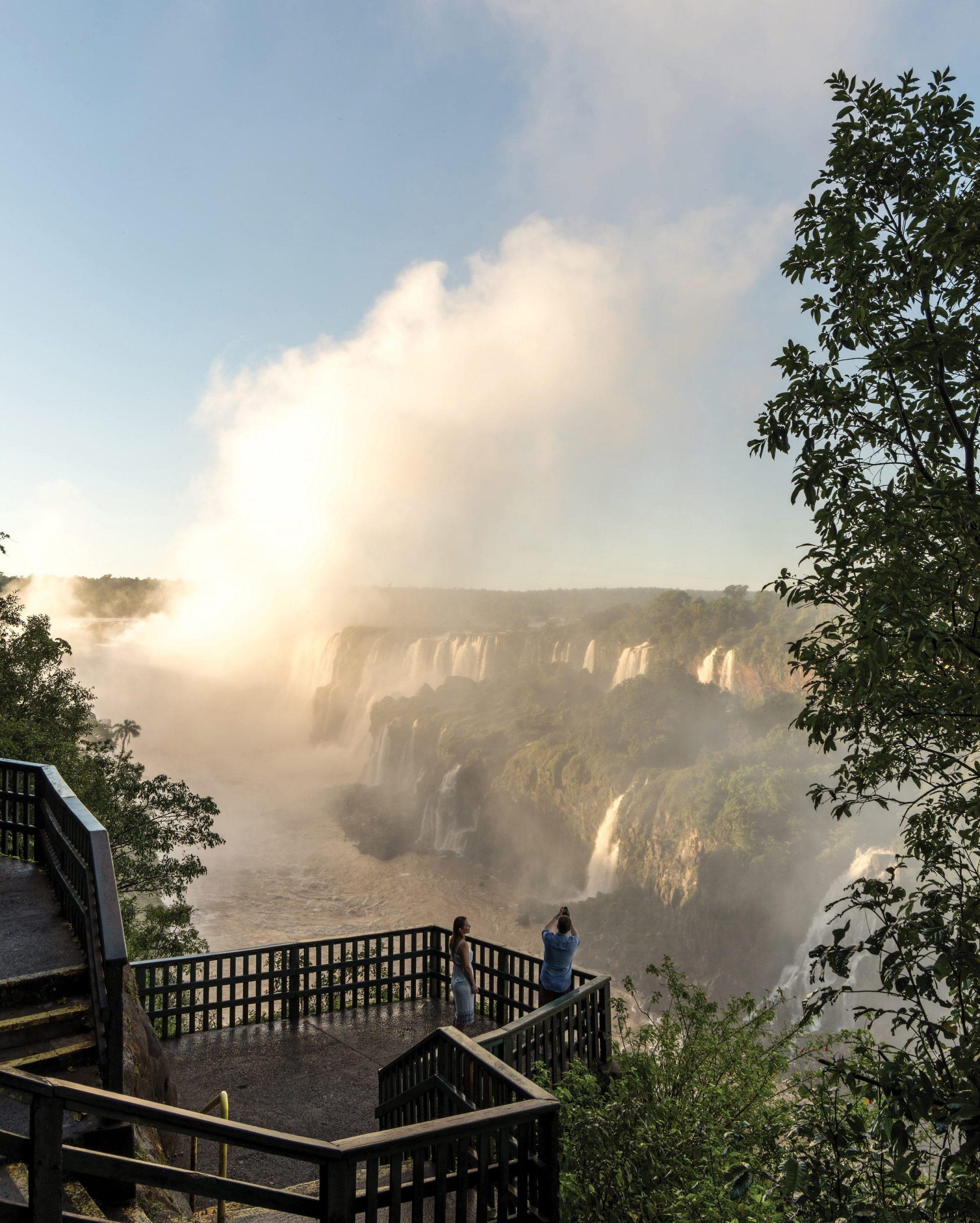 wooden deck over vast waterfalls