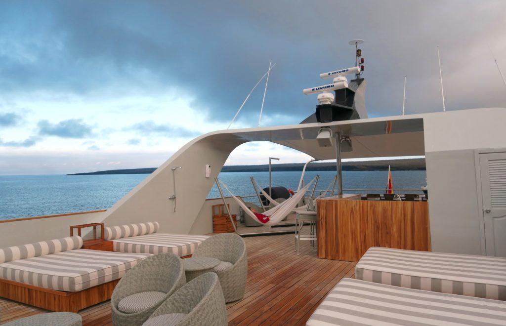 top deck of the MV Origen cruising around the galapagos on this Ecuador tour