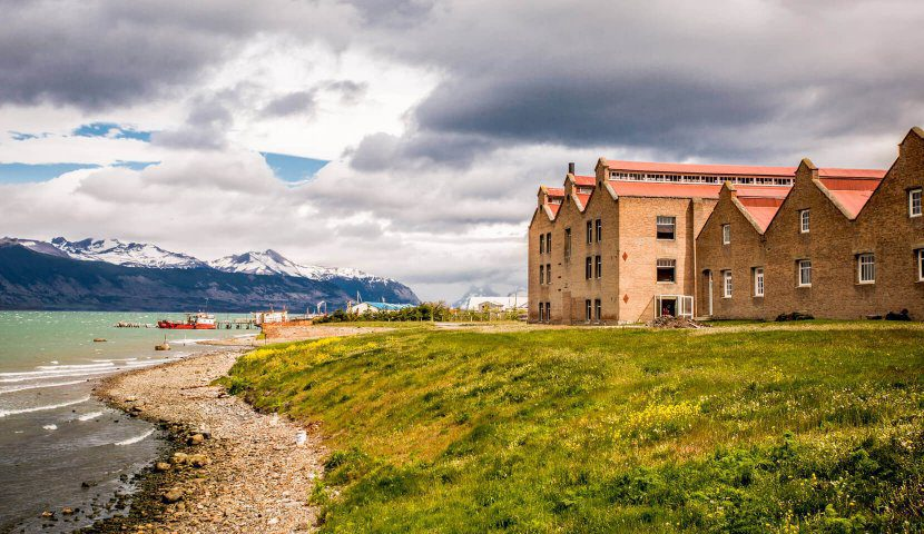 seen on this Argentina & Chile holiday singular patagonia hotel looking out over the sound on a cloudy day