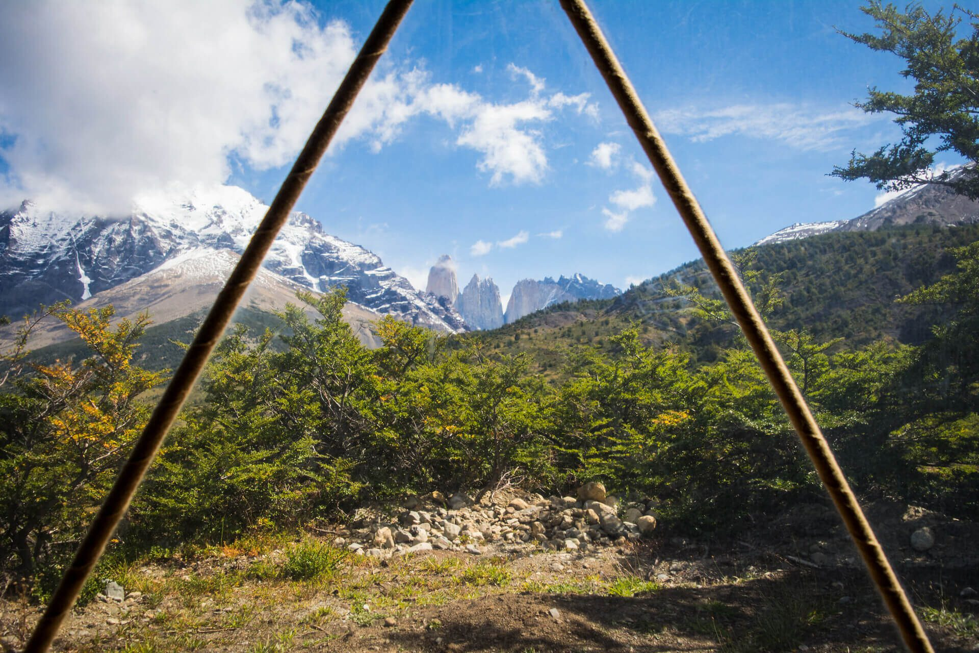 view from dome tent with mountains and blue sky on Argentina & Chile trip