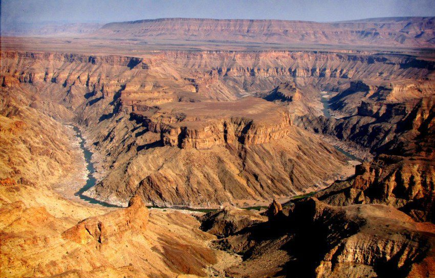 aerial view over Namibia's Fish River Canyon