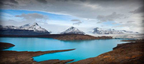turquoise water and mountains near Estancia Cristina