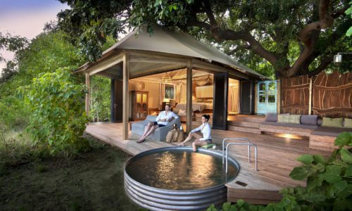 plunge pool at nyamatusi with people sitting around it on the deck of their tent on luxury safari