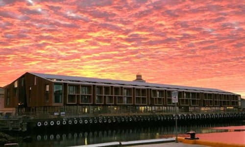 sunset at macq01 hotel in hobart