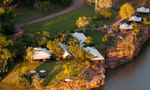 on a northern Australia holiday get an aerial view of El Questro Homestead landscape and property