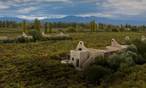 aerial view of cavas wine lodge with the beautiful andes mountains in the distance