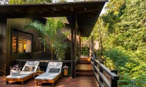 awasi iguazu lodge patio with lounge chairs and private plunge pools