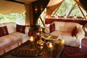 stylish interior of the main camp tent at Mara Expeditions, Maasai Mara Kenya