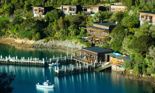 Front of the Bay of Many Coves lodge which sits on a hillside overlooking the Marlborough Sound.