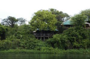 safari lodge tucked into the green foliage along the banks of the Nile River in Murchison Falls National Park in Uganda