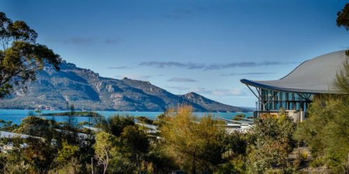saffire freycinet lodge looking out into wineglass bay and the mountains