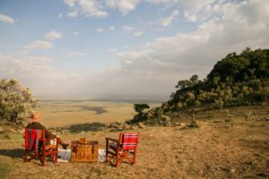 picnic lunch with stunning views over the Masai Mara