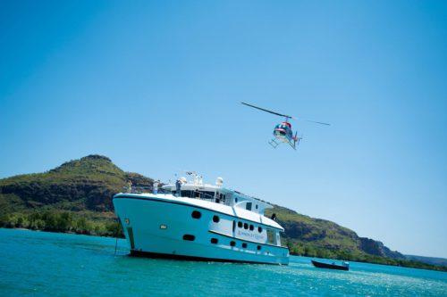Helicopter landing on the Kimberley Quest II