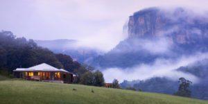 fog overlooking wolgan valley suite on australia tour