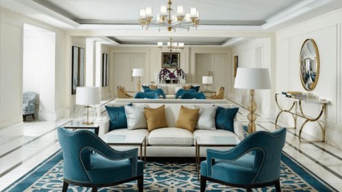 sitting room in a luxury suite at The Langham Sydney